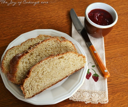 Homemade Rustic Oat Bread & Strawberry Jam